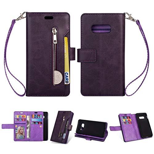 Caja del teléfono móvil para Samsung Galaxy S10E con Cremallera Multifuncional Caja de Cuero Horizontal Flip con Soporte y Billetera y 9 Tarjetas Slots & Lanyard (Color : Purple)