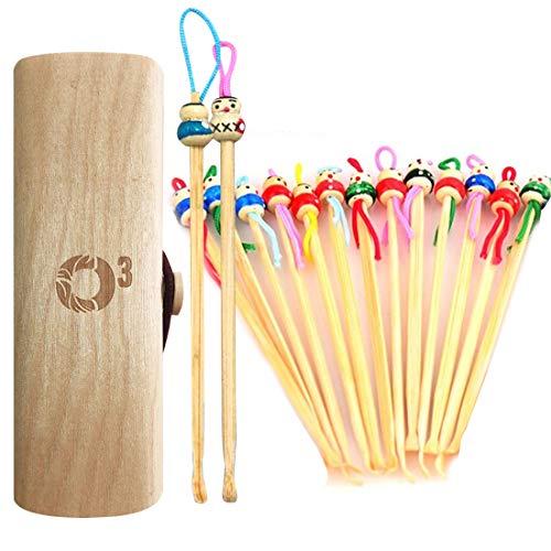 O³ Oriculi Bambou-15 Cure-Oreilles en bois-Coton Tige Reutilisables Oreille-Ecologiques et Economiques-Livrés dans une boite de voyage