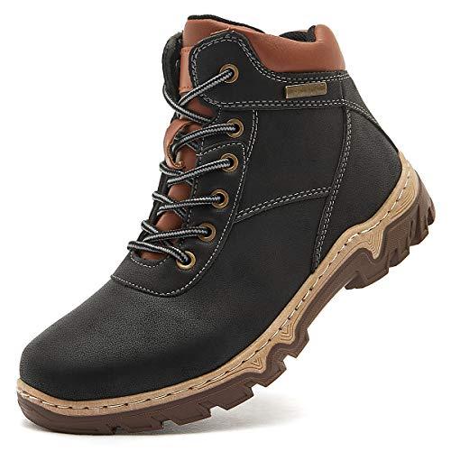 hash bubbie Women Mid Hiking Boots Outdoor Waterproof Lace up Backpacking Trekking Walking Trails(Black.8)