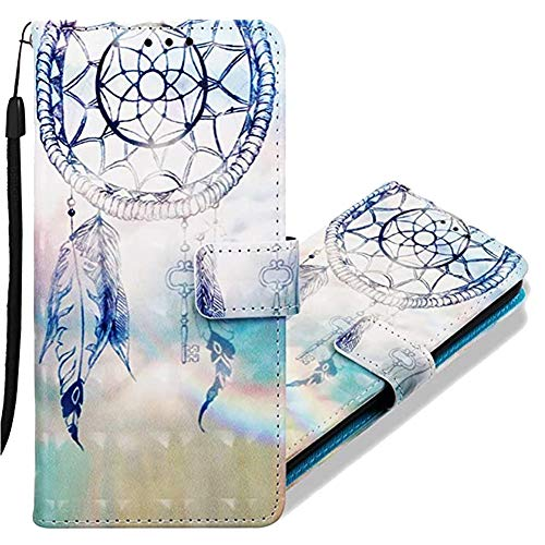 MRSTERUS Moto Z4 Play case 3D Creative Pattern Design PU Leather Flip Notebook Wallet Case Magnetic Closed Folding Stand Slot Bumper Case for Moto Z4 Play Rainbow Wind Chimes YB