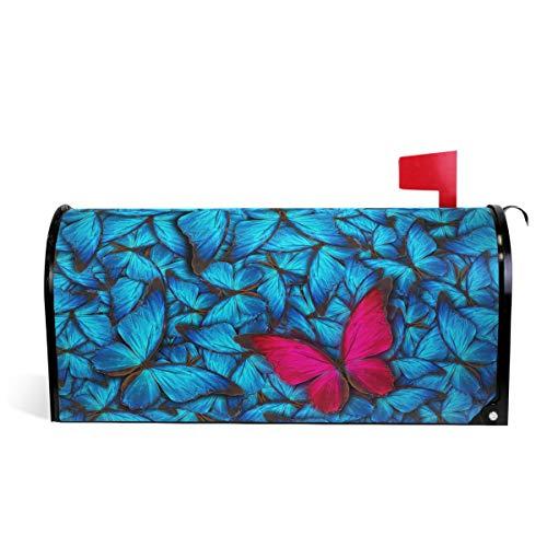 Oarencol Joli Couvercle magnétique pour boîte aux Lettres Motif Papillon Bleu et Rouge Taille Standard 53,3 x 45,7 cm 25.5\