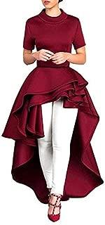 Women Dress Daoroka Women's Vintage Short Sleeve High Low Peplum Bodycon Casual Party Club Dress Cocktail Party Retro Pleated Swing Ladies Asymmetrical Wedding Skirt (2XL, Red)