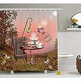 Yeuss Surrealistische Duschvorhang, Geburtstag Alice im W&erland mit Kuchen Schmetterling im magischen Wald-Cartoon-Kunst,Stoff-Badezimmer-Dekor-Set mit Haken,Multicolor 66'x72'