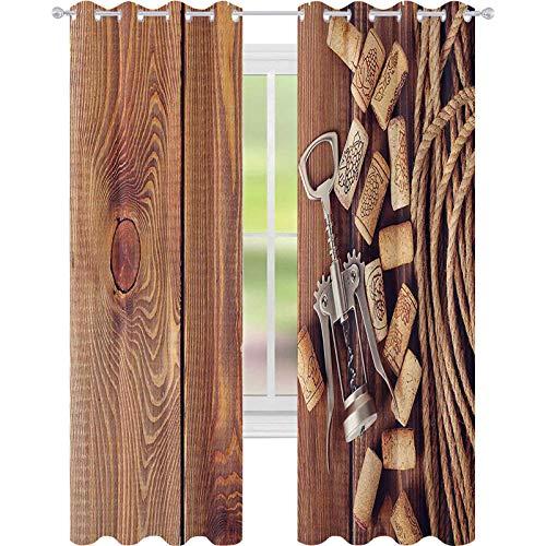 90% -99% cortina opaca, corchos de vino sobre madera rústica, elementos de licor orgánico natural vintage cosecha, cortinas con ojales de 52 x 95 para habitación de niñas, color marrón