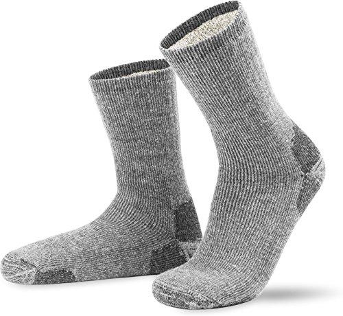 2 Paar Extrem robuste & wärmende Cordura Vollplüschsocken Wollsocken mit Alpaka-Wolle Farbe Grau Größe 43/46