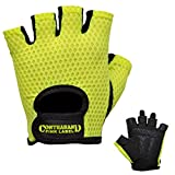 Contraband Pink Label 5307 Womens Design Series Diamond Mesh Lifting Gloves (Pair) - Lightweight Vegan Medium Padded Microfiber Amara Leather w/Griplock Silicone (Green, Small)