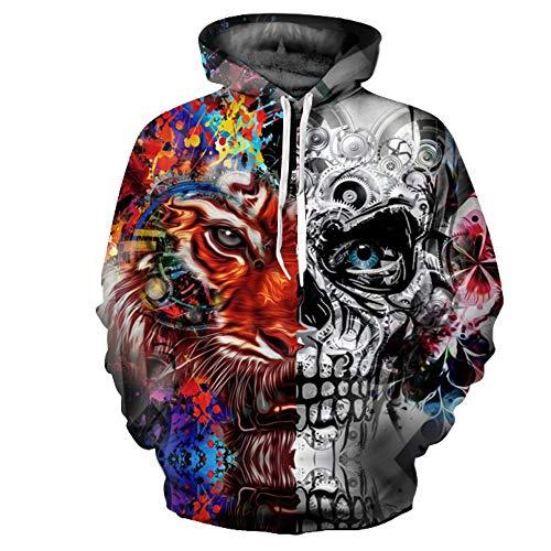 Blwz Unisex 3D schedel tijgerprint hoodie, mannen vrouwen paar outdoor vrije tijd sweatshirts lange mouwen jumper hooded pullover mantel met zakken S-3XL