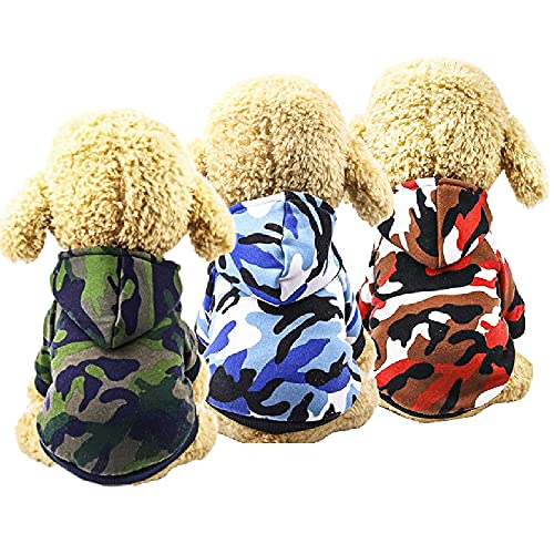 3-Pack Dog Fall Clothes Dog Hoodie Camo Puppy Sweaters for Small Dogs Boy Male Girl for 1lb to17.6lb - Dog Pet Winter Dog Clothes Warm Sweatshirt Coat Chihuahua (X-Small(1.43-2.64lbs), Green+Blue+Red)