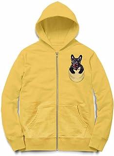 Fox Republic ブルドッグ ユニオンジャック イギリス国旗 ポケット 犬 イエロー キッズ パーカー シッパー スウェット トレーナー 110cm