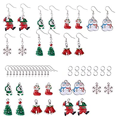 SUNNYCLUE DIY Make 7 Pairs Christmas Dangle Earrings Making Starter Kit Red Santa Claus Stockings White Snowman Xmas Tree Snowflake Jingle Bells Jewelry Supplies Thanksgiving Themed Gift Women Girls