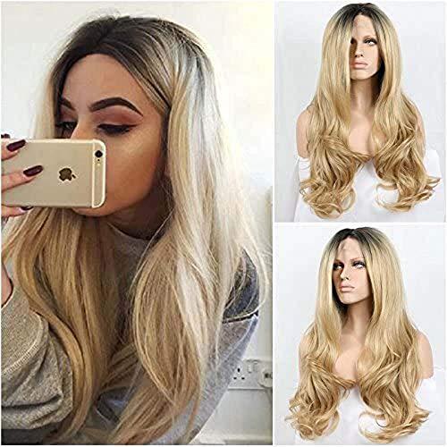Kylie Jenner style Premium Blond ombré naturel longueur perruque avec racines foncé ondulés perruques Lace Front synthétique résistant à la chaleur fibre