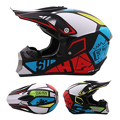 DNACC Bunten Motorradhelme Kinder/Teenager Sport Moto-Helm Erwachsenen Offroad-Rennhelm Four Seasons Unisex Integralhelm für ATV MTB Downhill Dirt Bike Crash Modular Helm,M