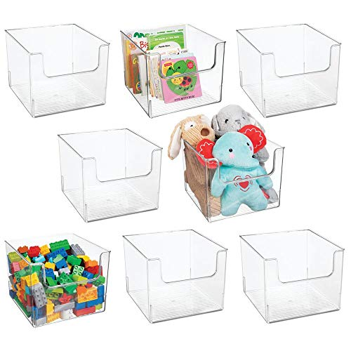 mDesign Deep Plastic Home Storage Organizer Bin for Cube Furniture Shelving in Office Entryway Closet Cabinet Bedroom Laundry Room Nursery Kids Toy Room - Open Front 10 Wide 8 Pack - Clear