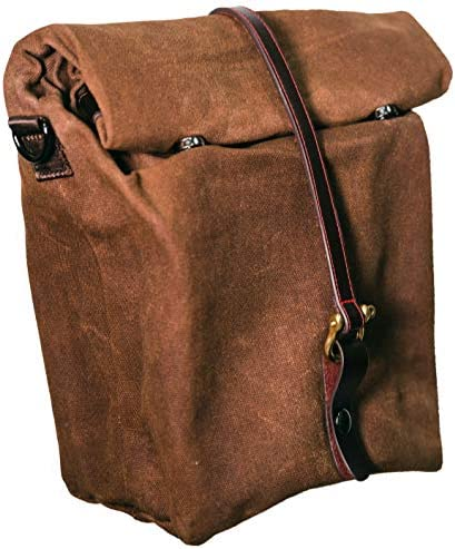 Large Insulated waxed lunch bag By Straits urban Merc Genuine leather strap waterproof durable product image