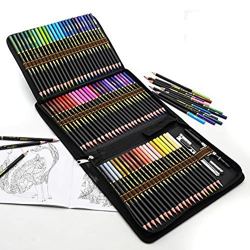 72 Buntstifte im Set mit Reißverschluss-Tasche, Malstifte für professionelle Farbmischung, lebendige Farbstifte zum Malen und Skizzen, Ideales Set für Künstler, Erwachsene und Kinder