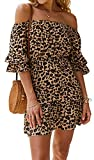 Womens Summer Off One Shoulder Mini Dress Leopard Short Sleeve Ruffle Dress Coffee M