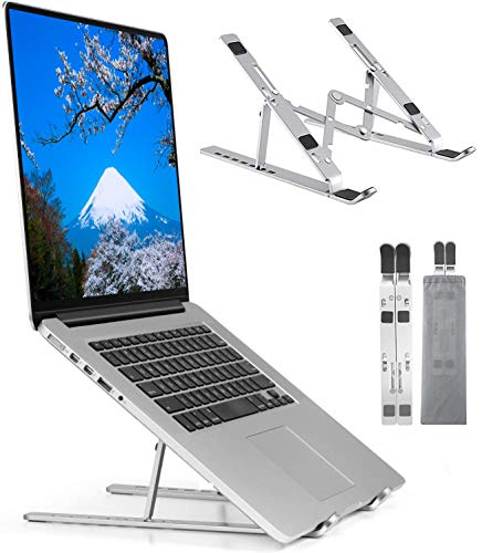 ノートパソコンスタンド 折りたたみ式 ラップトップスタンド アルミ合金 iPadスタンド 7段の高さ調節可能 (silver)