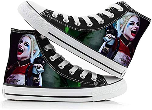 FONLONLON Suicide Squad Schuhe Paar Schuhe Freizeit Schuhe Personalisieren Printed Hohe Schuhe Studenten Turnschuhe (Color : A01, Size : EU41 US9)