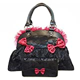 Banned Apparel Calavera flocado elegante negro rojo Rose encaje bolso y cartera Set de regalo