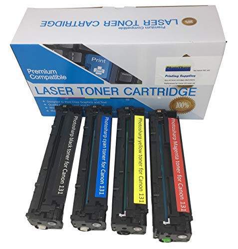 Four Compatible Cannon ImageClass MF8280CW (Black/Cyan/Magenta/Yellow) Ink Toner Cartridge Replacement for Canon 131 for Image-Class MF-8280CW Multifunction All-in-One Color Laser Printer