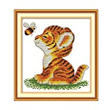 Cgration Tiger And Bee DIY Costura hecha a mano contada 14CT Impreso Kit de bordado de punto de cruz Set Decoración del hogar