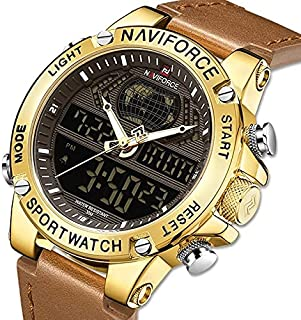 NaviForce Men's Casual Watch Analog-Digital Leather NF9164-3 Brown Rose Gold