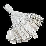 300 etichette con filo, etichette per prezzi, etichette per gioielli, etichette a filo, etichette in cartone, etichette per il prezzo (22 x 11 mm bianco argento)