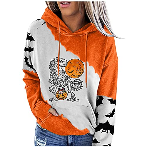 Fall Clothes for Women Halloween Print Color Block Long Sleeve Pocket Hoodie Teen Girls Oversized Winter Warm Loose Lightweight Hooded Open Front Cardigan Jacket Coat Tops Pullover(B White,XX-Large)