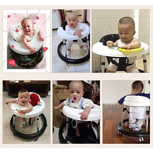 51Mczzs4a7L - Andador Bebe, Silla de Bebe Plegable y Ajustable para bebés de 6 a 18 meses (Negro con Freno)