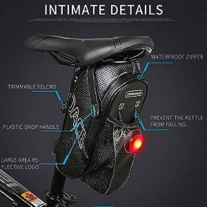 Bolsa Bicicleta Impermeable,Bolsa para Sillín de Bicicleta,Alforjas Bicicleta con Luz(Tres Modos),Bolsa para Botella de Agua,Alforjas para Bicicleta de Montaña MTB