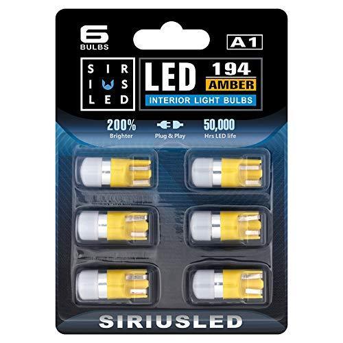 SIRIUSLED Compact size Amber/Orange/Yellow 168 194 2825 Single Chip LED Interior Bulb for Car and Truck Map Dome Door Courtesy Glove Box License Plate lights Pack of 6