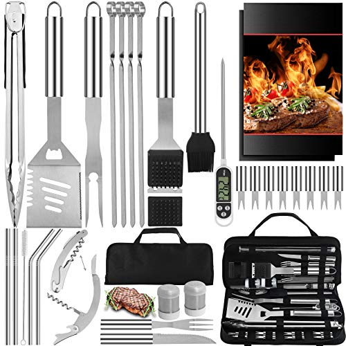 32PC BBQ Accessories Kit with Storage Bag - Stainless Steel Grill Set for Men - Complete BBQ Grill Utensils for Barbecue Backyard Party - Perfect Grill Gift on Birthday Fathers Day and Christmats