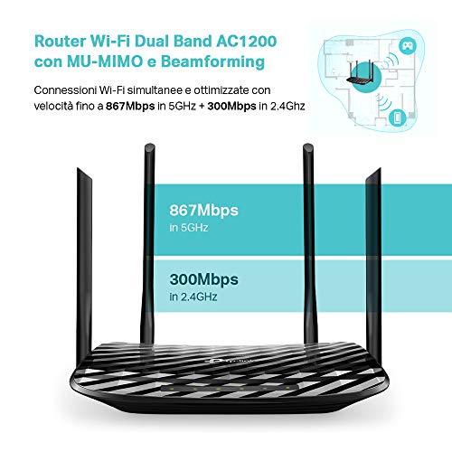 TP-Link Archer C6 Gigabit Router Wi-Fi Dual Band AC1200 Wireless, 5 Porte Gigabit, 4 Antenne Esterne e 1 Antenna Interna, 2.4GHz/5GHz, Modalità Access Point, MU-MIMO, Rete Ospite, Nero