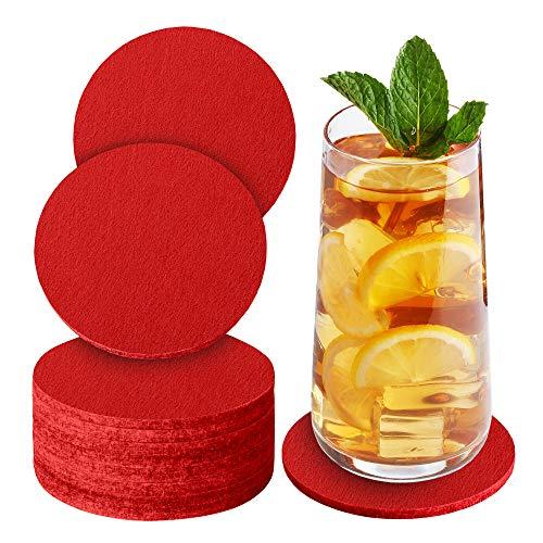 Sidorenko Sottobicchieri in feltro rotondi per bicchieri - Set di 10 - Sottobicchieri di vetro di design in rosso per bevande, tazze, bar, vetro - Sottobicchieri da tavolo