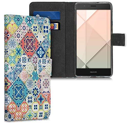 kwmobile Funda Compatible con Huawei P9 Lite - Carcasa de Cuero sintético Azulejos - con Tarjetero