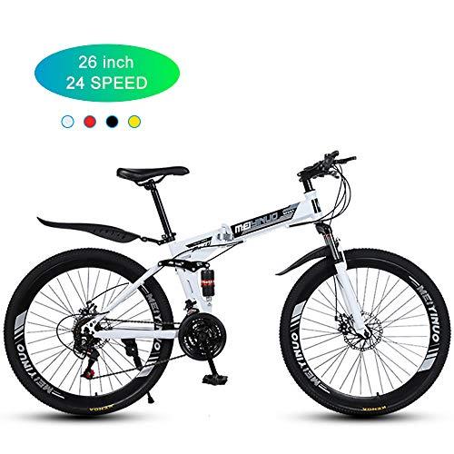Bicicleta De Montaña para Hombre De 26 Pulgadas, Ruedas De Radios Plegables/De 40 Palas/Bicicleta Todoterreno para Adultos De 24 Velocidades Frenos De Doble Disco Mecánicos/Doble Suspensión