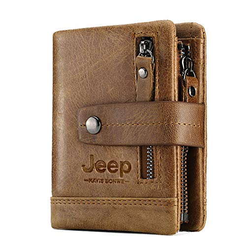 JEEP KAVIS BONWE Mens Wallet Genuine Leather, Double Zipper, Vintage Bifold Card Holder Purse(Red)