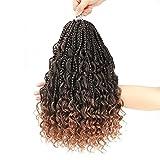 8 Packs Goddess Box Braids Crochet Hair 14 Inch Bohomian Crochet Box Braids Curly Ends 3X Crochet...