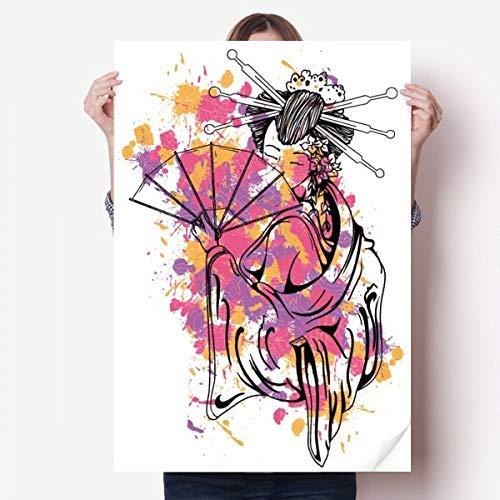 DIYthinker Culture Japonaise Point de Couleur Geisha Vinyle Autocollant de Mur Poster Mural Wallpaper Chambre Decal 80X55Cm 80Cm X 55Cm Multicolor