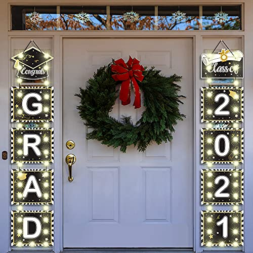 Graduation Decoration Porch Sign Set Congrats Grad Class of 2021 Graduation Banner 2021 Graduation Door Sign with 2 Pieces String Lights Button Battery Operated for Photo Props Party Supply (Black)