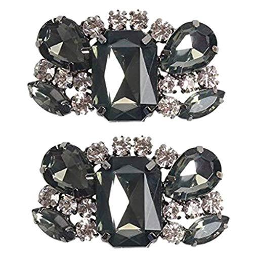 IPOTCH Decoraciones con Clip De Zapato con Brillo De Diamantes De Imitación - Paquete De 2 - Zapatos Nupciales De Boda Joyas para Mujeres Pisos, Tacón Bajo,