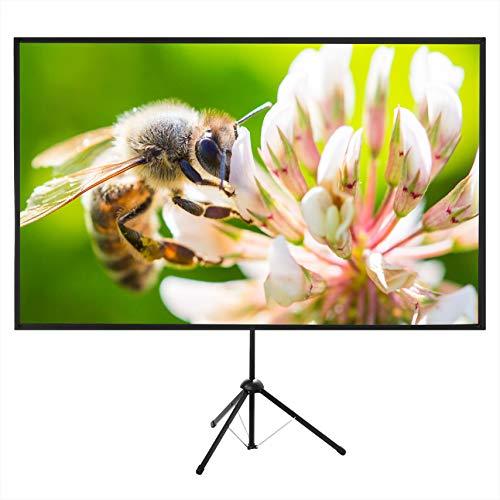 プロジェクタースクリーン70型4K解像度改良新版三脚式&壁掛け式 屋内屋外兼用 16:9 視野角160°