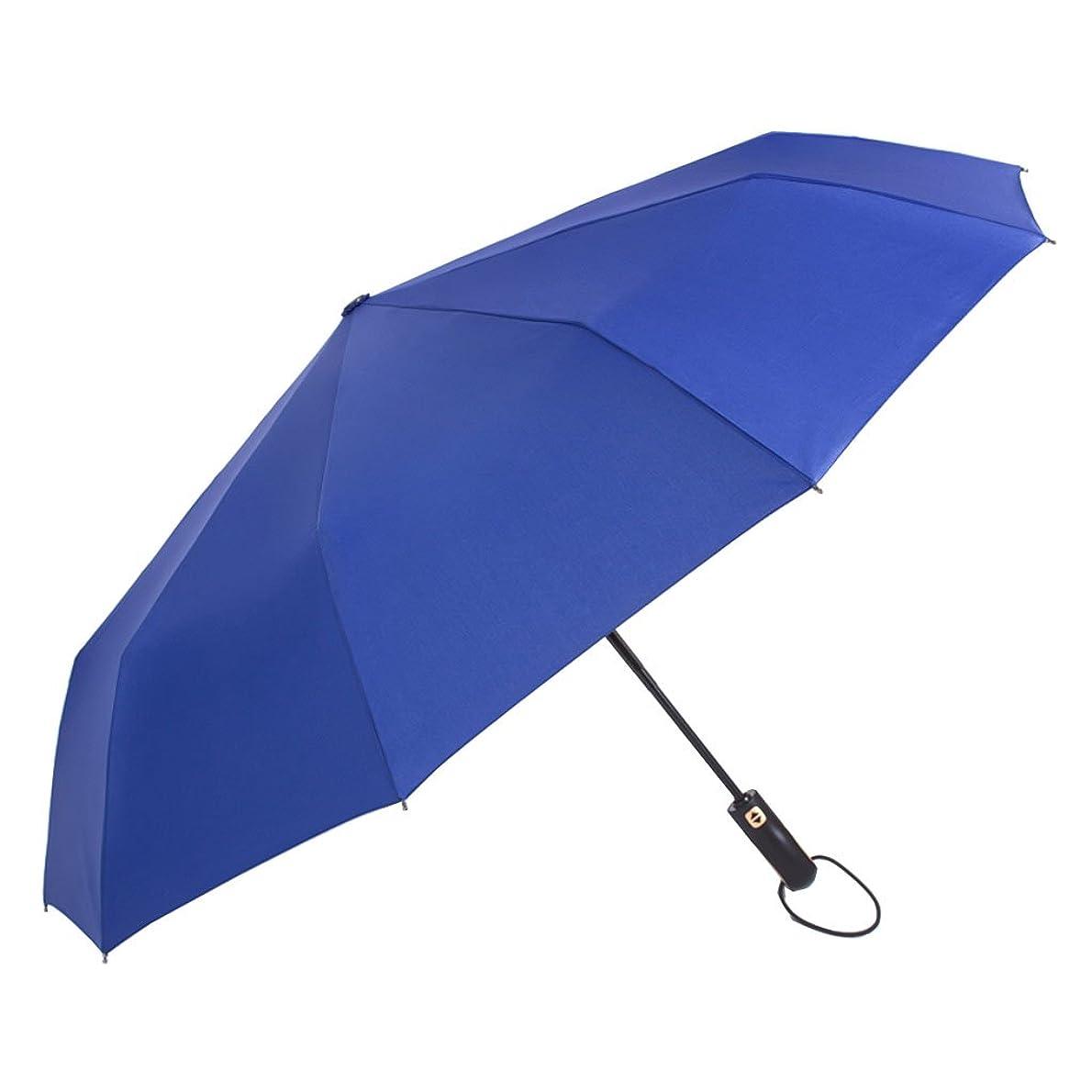 八百屋さんジョージハンブリー拡声器防風傘を強化するための二重目的の自動開閉と折り畳み傘滑り止めハンドルは素早く乾燥し、持ち運びが容易ブラックブラウンブルー3色 (色 : Blue)