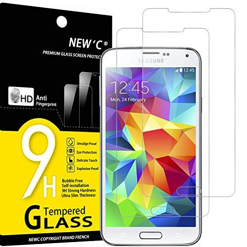 NEW'C 2 Unidades, Protector de Pantalla para Samsung Galaxy S5, Antiarañazos, Antihuellas, Sin Burbujas, Dureza 9H, 0.33 mm Ultra Transparente, Vidrio Templado Ultra Resistente
