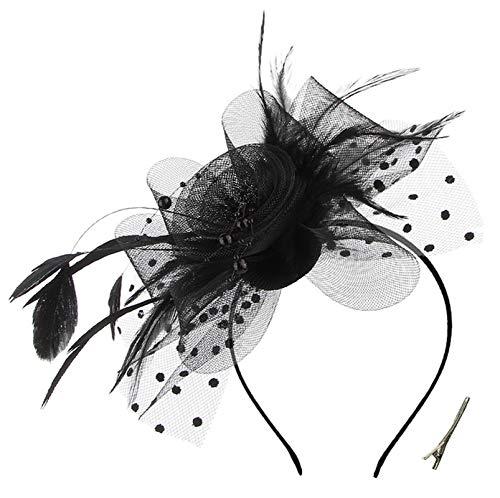 OUHO Damen Fascinator Hut Blume Mesh Federn Clip Kopfschmuck Haarschmuck für Party Kirche Hochzeit Cocktail Jockey Club schwarz