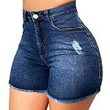 YANFANG Pantalones Cortos de Mezclilla Rotos para Mujer Pantalones Vaqueros Rasgados Hotpant de Cint...