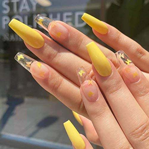 Harosy Coffin Fake Nails Yellow Butterfly Extra Long Press on Nails Clear Ballerina Glossy Acrylic Nails for Women and Girls 24Pcs