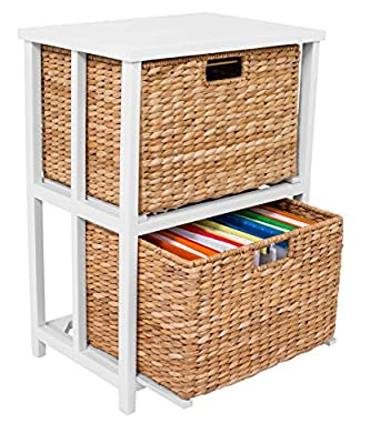 BirdRock Home Havana 2 Tiered File Cubby with Wood top