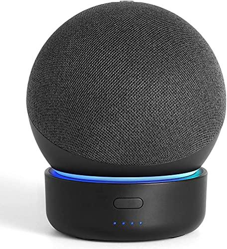 Base de batería para Dot 4th Generation & Smart Speakers, GGMM D4 Dot Base de batería Accesorios de Soporte Fuente de alimentación Recargable 6 Horas de reproducción (Dot no Incluido) (Black)