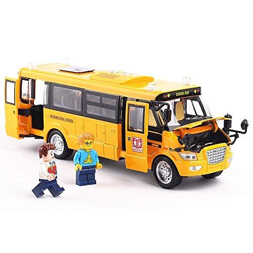 Juguetes para coche, aleación, autobús escolar, modelo de autobús, simulación de 4 puertas, sonido y luz, voz, coche de juguete, vacaciones, cumpleaños, año nuevo, regalo, coche de juguete en caja, co